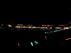 Before the fireworks, the lights go out and the lightsabers go on!