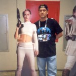 Natalie Portman poses with a cardboard cutout of Rex Karrde.