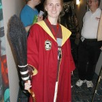 An awesome Quidditch outfit.  The broom is handmade.