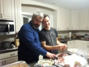 "Mark helps Dan ""fluff the beef"""